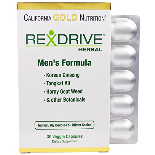 California Gold Nutrition, Rexdrive Herbal, Men's Formula- Korean Ginseng, Tongkat Ali, Horny Goat Weed, Beet Root, Red Spinach, Grape Seed, 30 Veggie Capsules, Milk-Free, Gluten-Free, Soy-Free, CGN ()