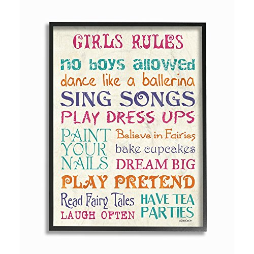 The Kids Room by Stupell Pink Teal Orange and Purple Girls Rules Oversized Framed Giclee Texturized Art, 16 x 1.5 x 20, Proudly Made in -