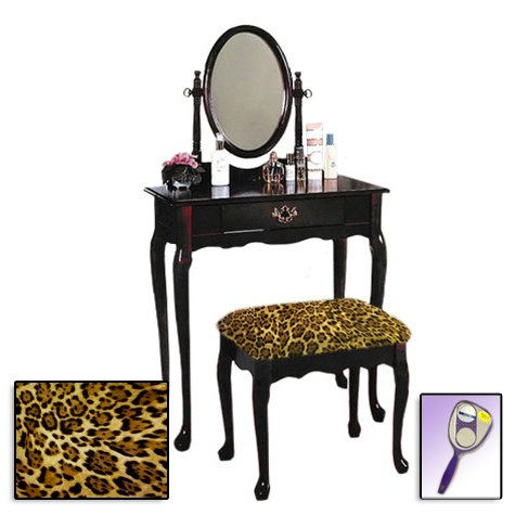 New Cherry Finish Queen Anne Make Up Vanity Table with Mirror & Leopard Animal Print Themed Bench