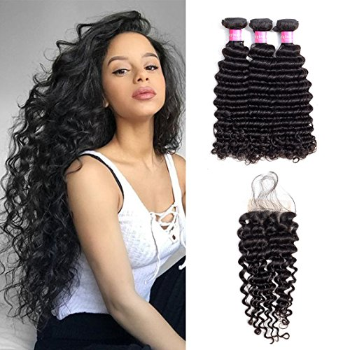 Original Queen 8A Grade Brazilian Deep Wave Bundles With Closure Virgin Human Hair Unprocessed Deep Curly Natural Color 14 16 18inches With 12 Inches Free Part Closure