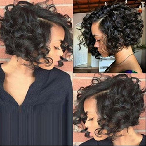 Search : Black Short Kinky Curly Wig For Black Women Heat Resistant African American Synthetic Wig