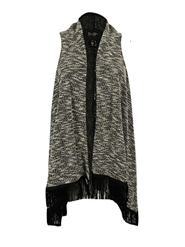 Jessica Simpson Women's Plus-Size Otto Vest, Black Marl Tweed, 1X
