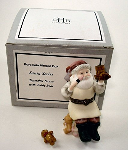 35788 Midwest of Cannon Falls Porcelain Hinged Box Toymaker Santa with Teddy Bear PHB