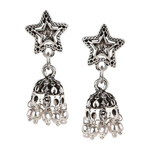 Art Jaipur - Efulgenz Boho Jewelry Indian Oxidized Silver Vintage Retro Ethnic Dangle Tribal Tibetan Gypsy Dangle Earrings for Girls Women