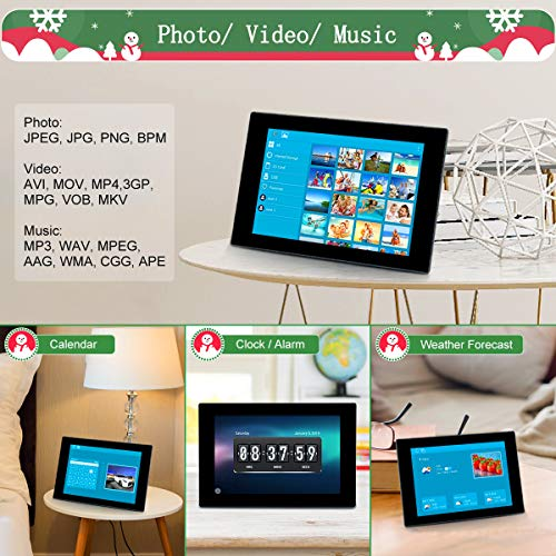 iOS Android 16GB Internal Storage GRC 10.1 Inch WiFi Digital Photo Frame with IPS Full HD Touch Screen Anywhere Anytime Send Photos and Videos from App Support SD Card