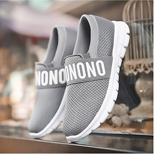 Casual Running Grey Sneakers Lightweight Shoes Athletic Breathable Women's On Slip Mesh Walking XMeden 8SwnqUEOO