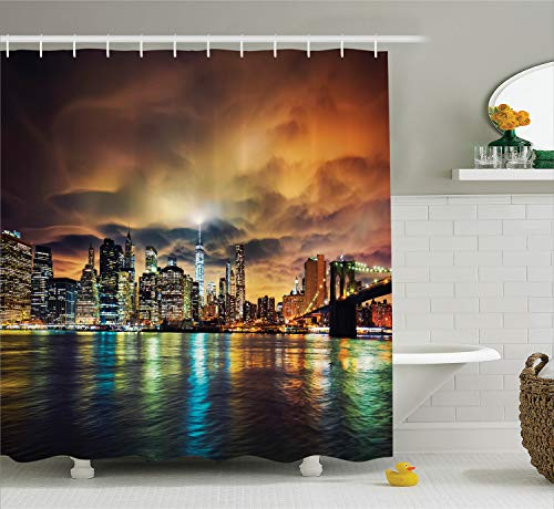 Ambesonne NYC Decor Collection, View of Manhattan at Sunset Dramatic Sky Clouds Dark Evening Architecture Picture, Polyester Fabric Bathroom Shower Curtain, 84 Inches Extra Long, Brown Yellow Green