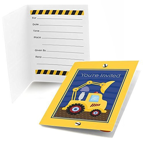 (Big Dot of Happiness Construction Truck - Fill in Baby Shower or Birthday Party Invitations (8 Count))