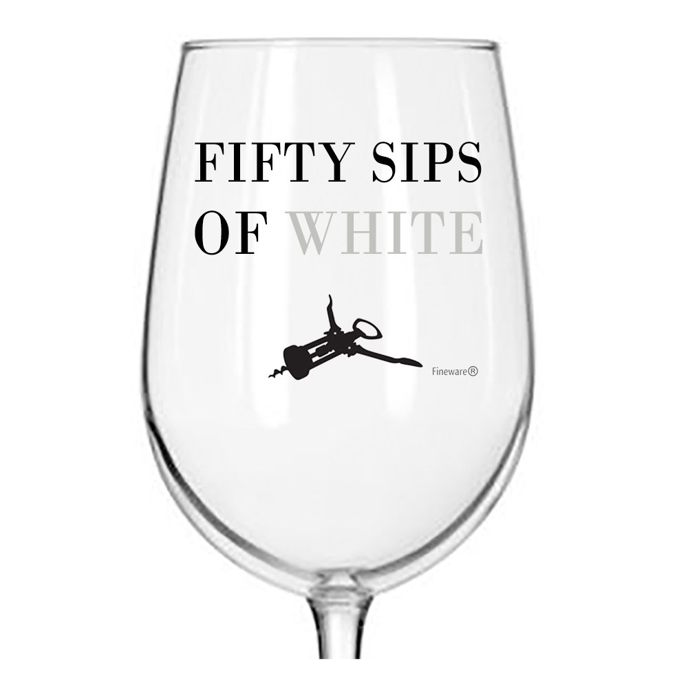 Fineware 50 Sips of White - Funny Wine Glass - 16 Ounce Libbey Custom Printed Wine Glass Gift