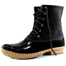 DailyShoes Women's Snow Booties Up Ankle High Plain Duck Padded Mud Rubber Rain Boots