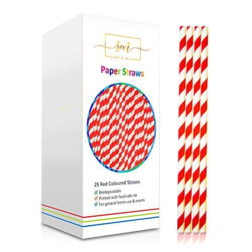 Pajitas de papel Sidela Mills, paquete multicolor, biodegradables, reciclables, ideales para cócteles, bebidas frías y zumos, apto para fiestas, bodas y todas las ocasiones. multicolor