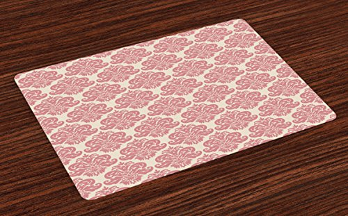 Lunarable Dusty Rose Place Mats Set of 4, Antique Damask Motifs Ornate Victorian Feminine Pattern Old Fashioned Revival, Washable Fabric Placemats for Dining Room Kitchen Table Decor, Rose ()