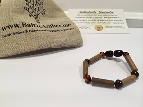 GERD, Colic, Reflux Baby Bracelet 5 - 6 inches Hazelwood Polished Cherry Baltic Amber Bracelet for babies baby infant toddler bub for Gut issues; Eczema, Colic, Reflux, GERD, heartburn, and ulcers. 100% Satisfaction Guaranteed. 14 cm inches Hazel wood (Po