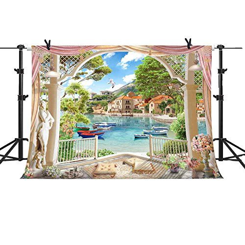 MME 10x7Ft Courtyard Backdrop Garden Photography Lakeside Water City Background Props Vinyl Video Studio - Lakeside Shopping At