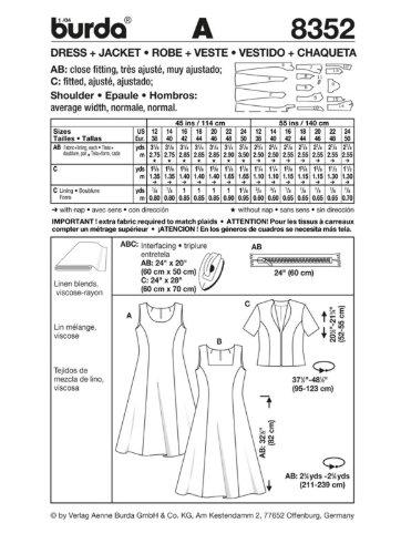 Amazon.com: BURDA SEWING PATTERN: #8352: Misses Sleeveless Dress Jacket: Size: 8 to 20