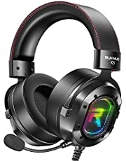 RUNMUS Gaming Headset for Xbox One, PS4, PC Headset w/Surround Sound, Over Ear Headphones with Noise Canceling Mic & RGB Light, Compatible with Xbox One, PS4, Nintendo Switch, PC, Mac, Sega Dreamcast
