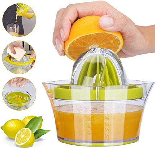 Yimobra Citrus Lemon Orange Juicer Manual Hand Squeezer Lime Press with Strainer Built-in Measuring Cup and Grater Anti-Slip Reamer Extraction Egg Separator, 12OZ, Green