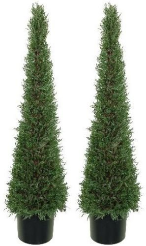 Two 4 Foot Outdoor Artificial Cypress Cone Tower Topiary Trees Uv Rated Potted Plants