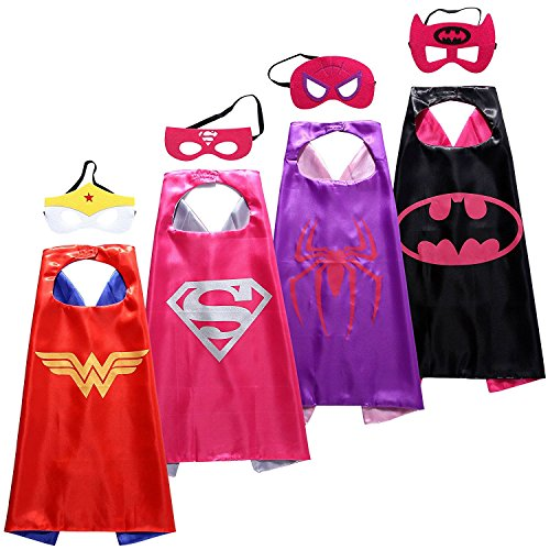 Majika Dress Up Kidz Costumes Cartoon 4 Satin Capes with Matching Felt Masks (4 Pack Girls) -