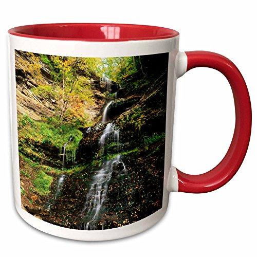3dRose Danita Delimont - Waterfalls - Cathedral Waterfalls in autumn, West Virginia, USA - US49 AJE0000 - Adam Jones - 15oz Two-Tone Red Mug (mug_148834_10)