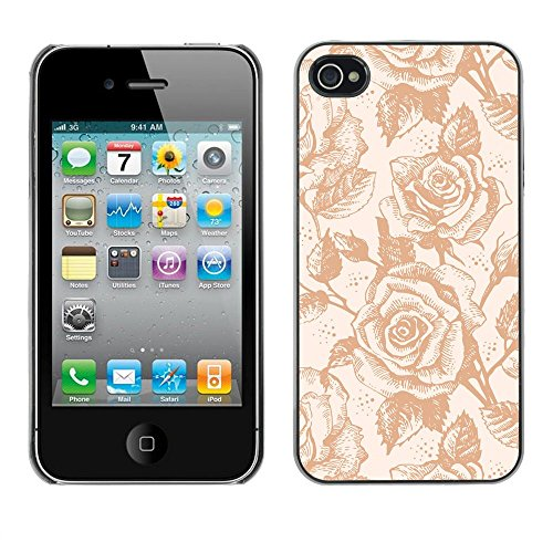 TopCaseStore / caoutchouc Hard Case Housse de protection la Peau - Wallpaper Roses Vintage Retro Flowers Art - Apple iPhone 4 / 4S