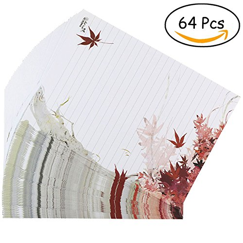 Bolbove 64 Pcs Lovely Plant Elegant Fall Maple Leaves Letter Writing Stationery Paper Lined Sheets (Printable Halloween Story Paper)