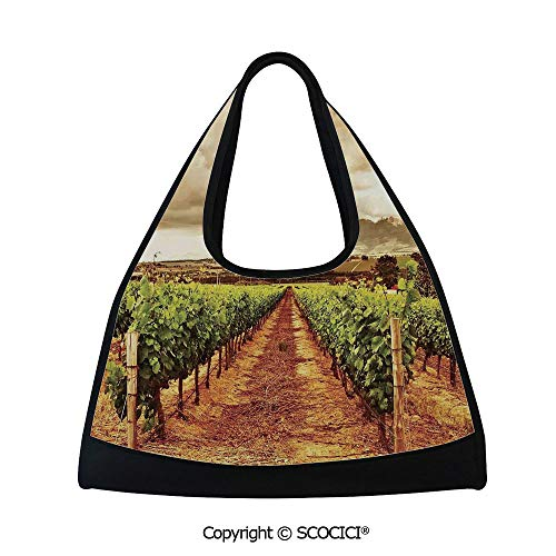 Kettle Valley Fruit - Short distance travel bag,Grape Valley Clouds over Vineyard Natural Fruit Plantation in Autumn Garden Theme,Sports and Fitness Essentials(18.5x6.7x20 in) Green Brown