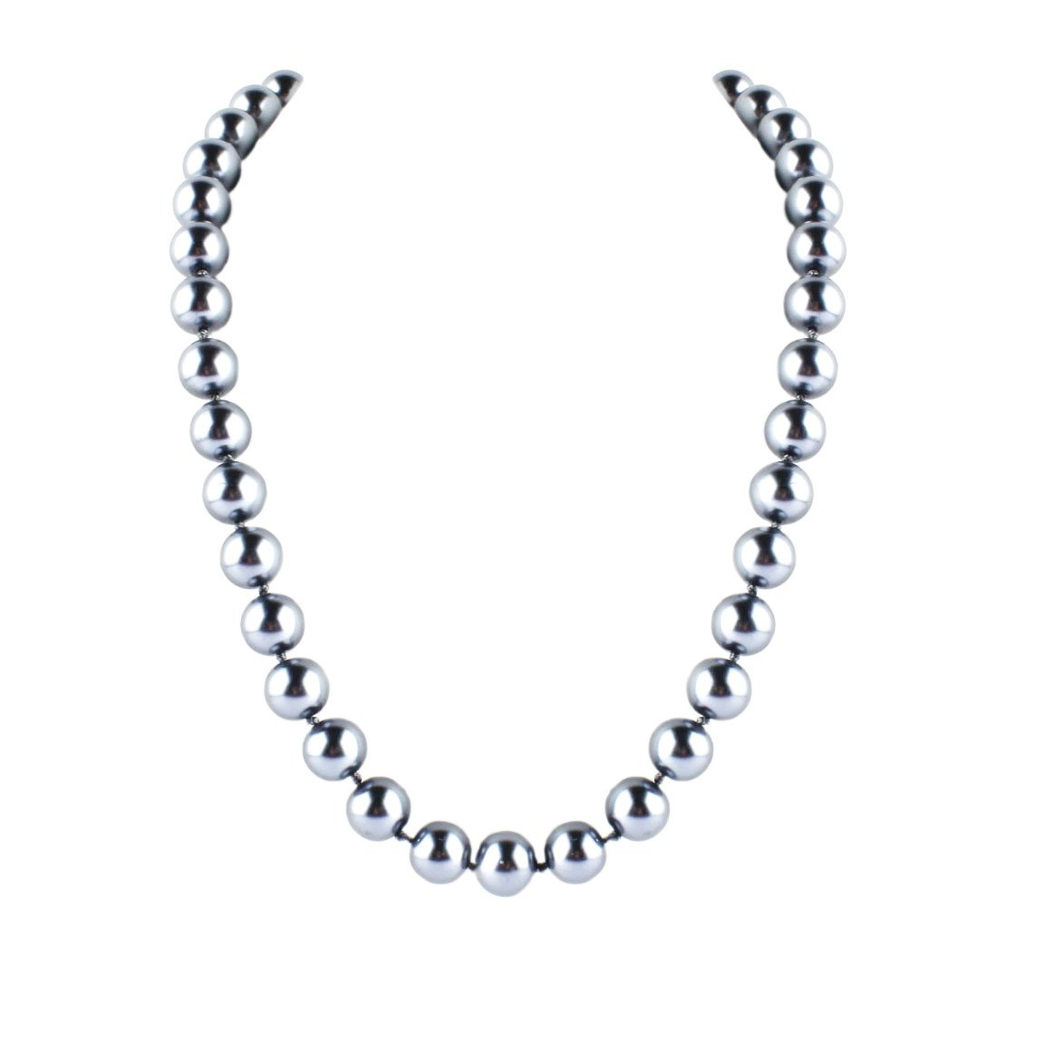 Moon Collection 20'' Grey Glass Pearl Beads with a Silver Tone Magnetic Clasp.