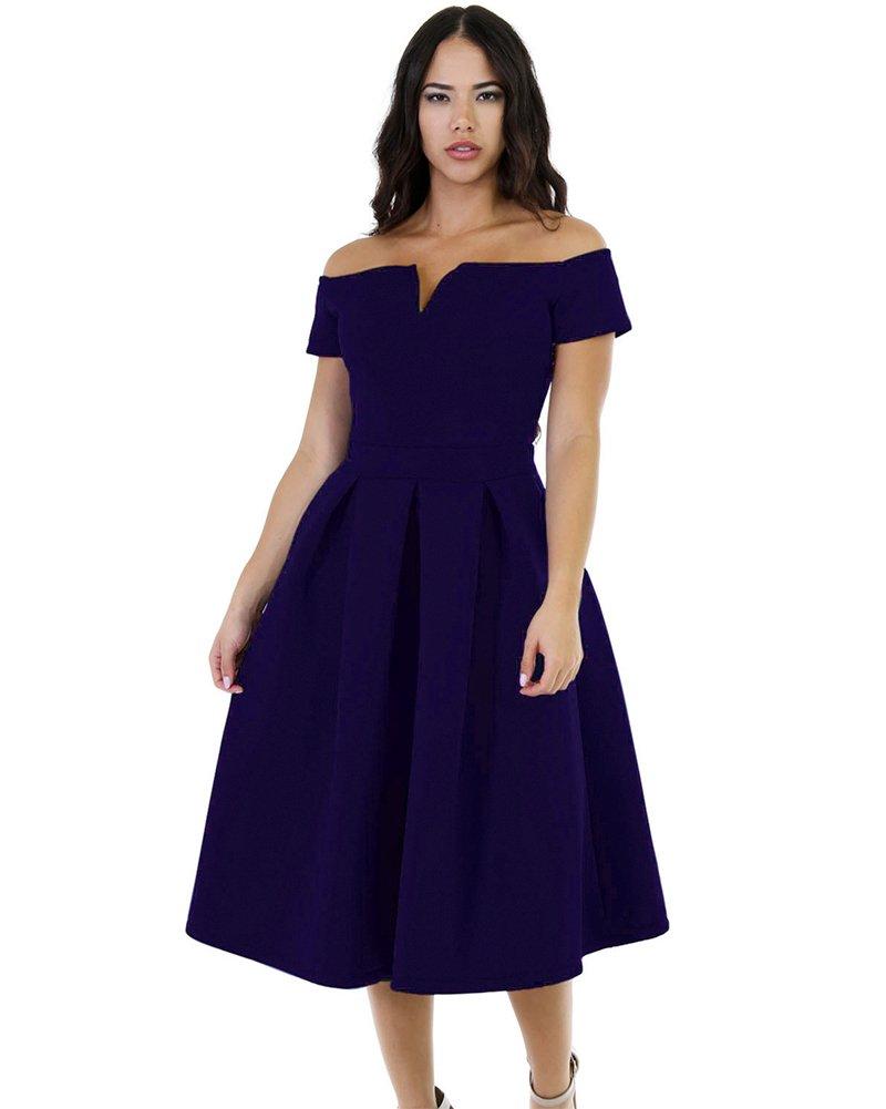 Lalagen Women's Vintage 1950s Party Cocktail Wedding Swing Midi Dress Navy XL