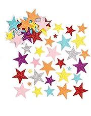 Baker Ross Pegatinas de Estrellas de Espuma con Purpurina (Paquete de 150) Para decorar tarjetas, collages y manualidades infantiles