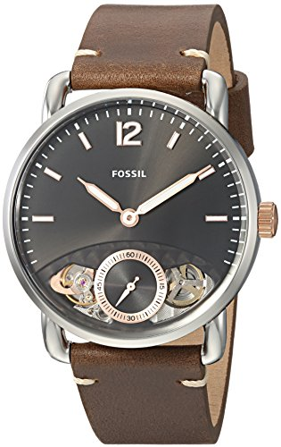 Fossil Men's The The Commuter Twist Stainless Steel Quartz Watch with Leather Calfskin Strap, Brown, 22 (Model: ME1165)