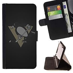 BullDog Case - FOR/Apple Iphone 6 PLUS 5.5 / - / Penguin Hockey Team /- Monedero de cuero de la PU Llevar cubierta de la caja con el ID Credit Card Slots Flip funda de cuer