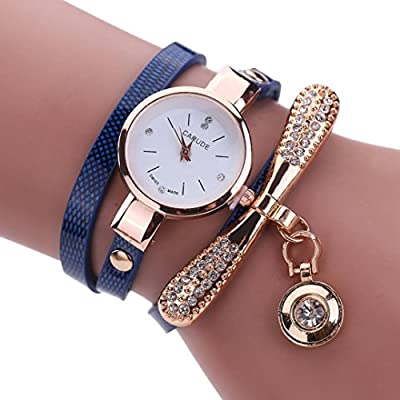 Amazon.com: LtrottedJ Women Leather Rhinestone Analog Quartz Wrist Watches (Dark Blue): Health & Personal Care