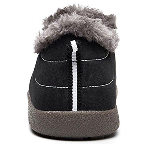 JACKSHIBO Women Men Fully Fur Lined Waterproof Anti-Slip Outdoor Slippers Ankle Boots House Slipper Black-low Slipper k68Aot9sN