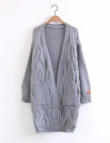 Grey One Size BaiChunYunYi Women's Long Jumper Going Out Casual Daily Simple Solid V Neck Long Sleeve Cotton Other Spring Autumn Thin Medium