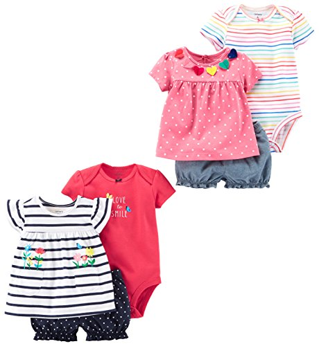 Carters Dot (Carter's Baby Girls 6-Piece Bodysuit Tee and Short Set, Navy Stripe/Pink Dot, 18 Months)