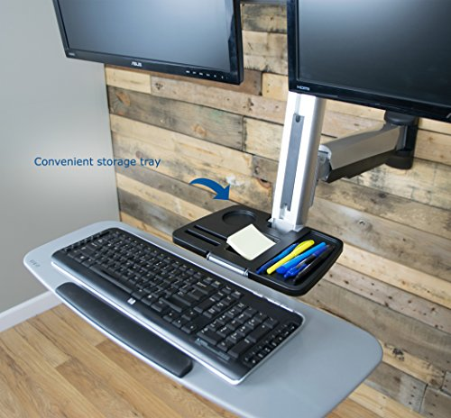Vivo Dual Monitor Amp Keyboard Counterbalance Sit Stand Wall