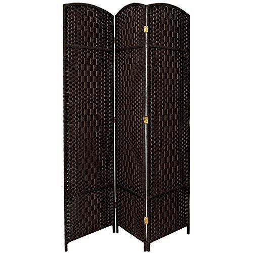 3 Panel Diamond Room Divider - Oriental Furniture 7 ft. Tall Diamond Weave Room Divider - Black - 3 Panels by ORIENTAL FURNITURE