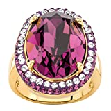 Palm Beach Jewelry 18K Yellow Gold-Plated Oval Purple Halo Ring Made Swarovski Elements Size 6
