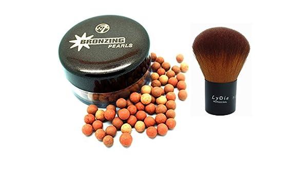 W7 Bronzing Pearls F-06 - Brocha de maquillaje profesional para maquillaje de 30 g + LyDia, color negro: Amazon.es: Belleza