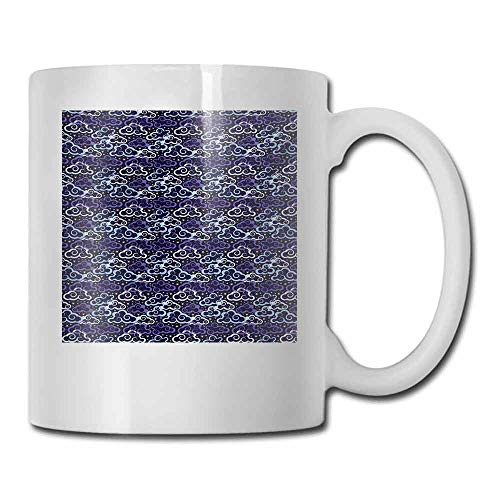 Coffee Mug Fantastic Night Skyline with Swirled Clouds and Stars Abstract Doodle Design Cocoa 11 oz Pale Blue Purple Yellow