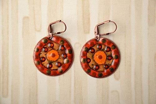 Handmade Copper Earrings With Enamels