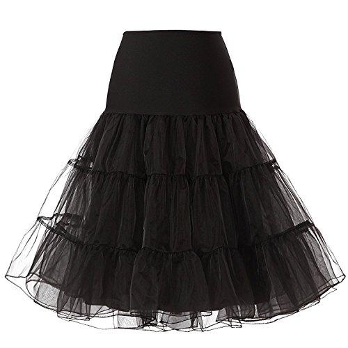 Blidece Women's Plus Size 50s Vintage Tutu Skirt Petticoat Rockabilly Crinoline Underskirt Black (Plus Size Petticoats)