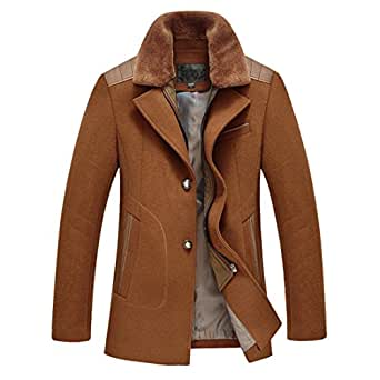 Sulandy Mens Casual Wool Classic Pea Coat Winter Coat X