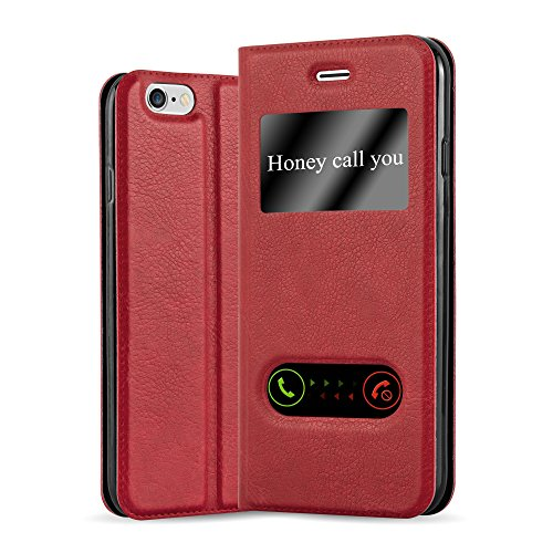 Cadorabo Book Case Works with Apple iPhone 6 / iPhone 6S in Saffron RED - with Magnetic Closure, 2 Viewing Windows and Stand Function - Wallet Etui Cover Pouch PU Leather Flip - Flip Red Cover