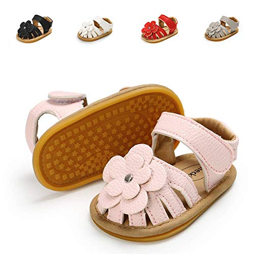 (Meckior Baby Toddler Infant Girls PU Leather Soft Closed Toe Summer Sandals Flower Princess Flat Shoes (18-24 Months Toddler, A-Pink))