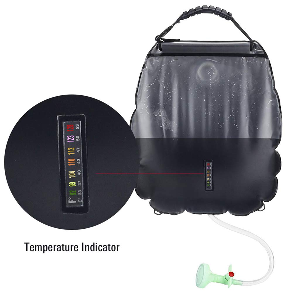 Pevor Solar Shower Bag 20 L/5 Gallon Portable Folding Hot Water Bag Switchable for Camping Hiking Outdoor Traveling Bathing Bag