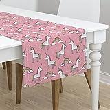 Table Runner - Unicorns Animals Scandinavian Dream Rainbow Unicorn Mythical by Caja Design - Cotton Sateen Table Runner 16 x 108