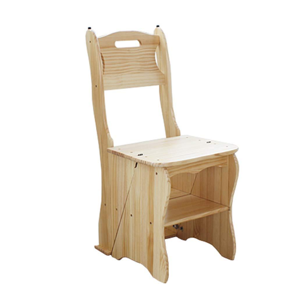PENGFEI 折りたたみステップチェア 椅子 多機能 貨物ラック 滑り止めマット パイン、 4ステップ 3色 脚立 踏み台ステップ チェア (色 : A) B07MNTCGFX A