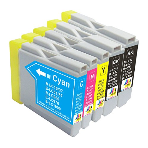 Ink & Toner Geek ® - 5 Pack Compatible Replacement Inkjet Cartridges for LC-51 LC51 XL (LC-51BK, LC-51C, LC-51M, LC-51Y) For Use With Brother DCP-130C DCP-330C DCP-350C DCP-750CW IntelliFax-1360 IntelliFax-1920CN IntelliFax-1960C IntelliFax-2480C IntelliFax-2580C FAX-1940CN MFC-230C MFC-240C MFC-3360C MFC-440CN MFC-465CN MFC-5460CN MFC-5860CN MFC-665CW MFC-685CW MFC-845CW MFC-885CW (2 Black, 1 Cyan, 1 Magenta, 1 Yellow)